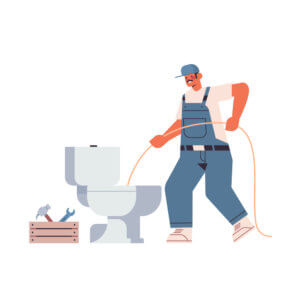 professional worker plumber in uniform using sewer snake cleaning blockage in toilet repair service concept full length isolated vector illustration