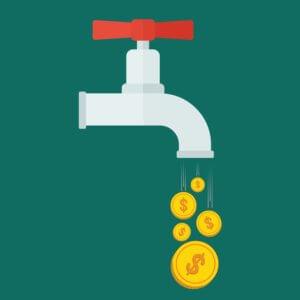 Faucet pouring money